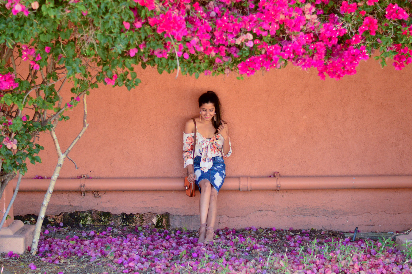 bowknot-floral-top-distressed-denim-skirt-summer-style-blogiversary-shoot-bougainvillae 4