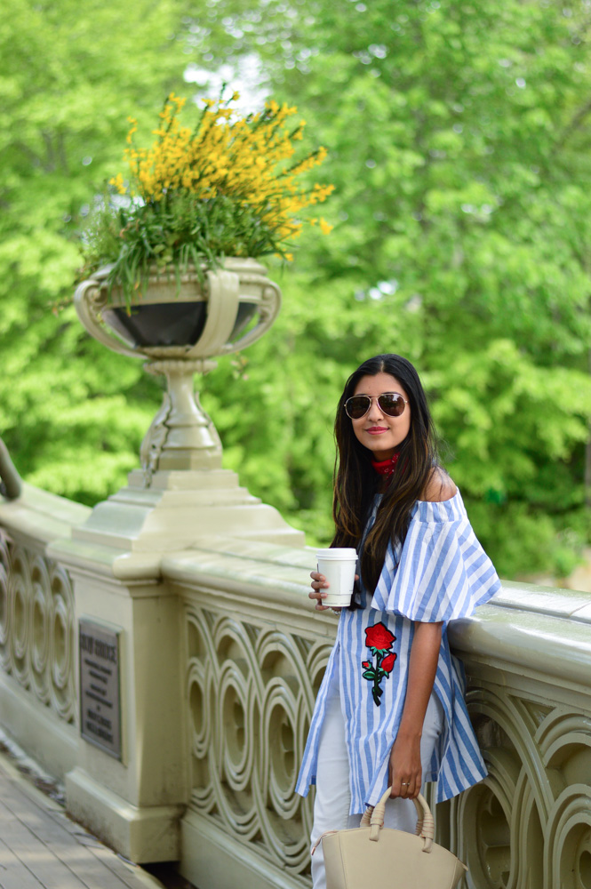 central-park-summer-style-what-wore-travel-outfit-off-the-shoulder-stripes-embroidered-blogger-outfit 6
