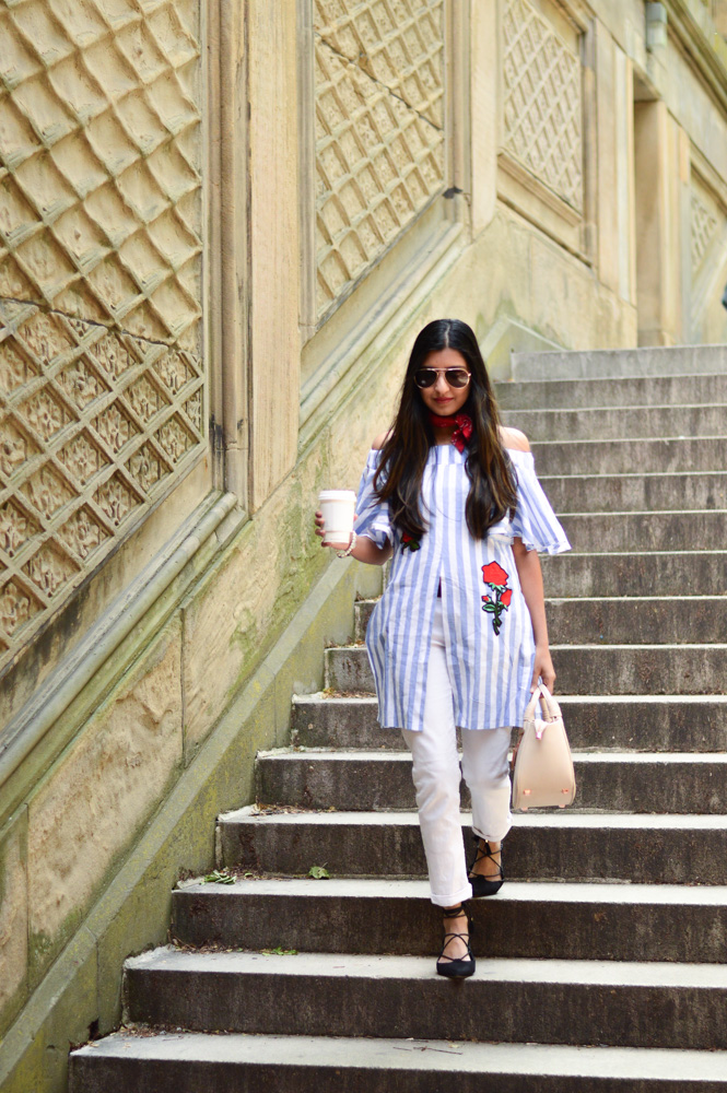 central-park-summer-style-what-wore-travel-outfit-off-the-shoulder-white-denim-blogger-outfit 7