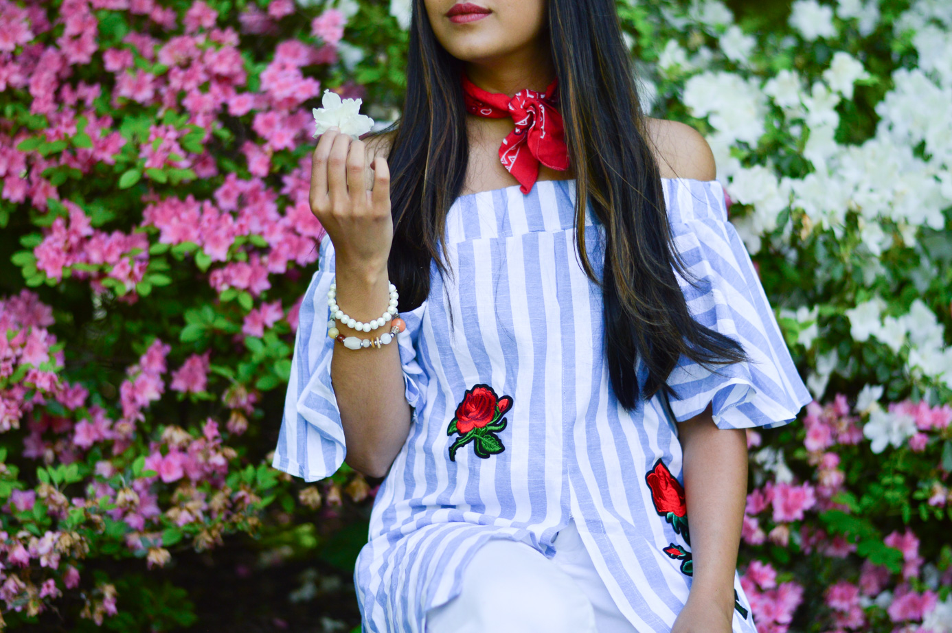central-park-summer-style-what-wore-travel-outfit-off-the-shoulder-stripes-embroidered-blogger-outfit 9