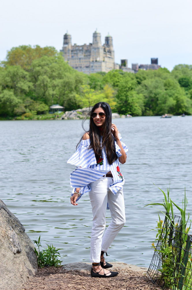 central-park-summer-style-what-wore-travel-outfit-off-the-shoulder-stripes-embroidered-blogger-outfit 10