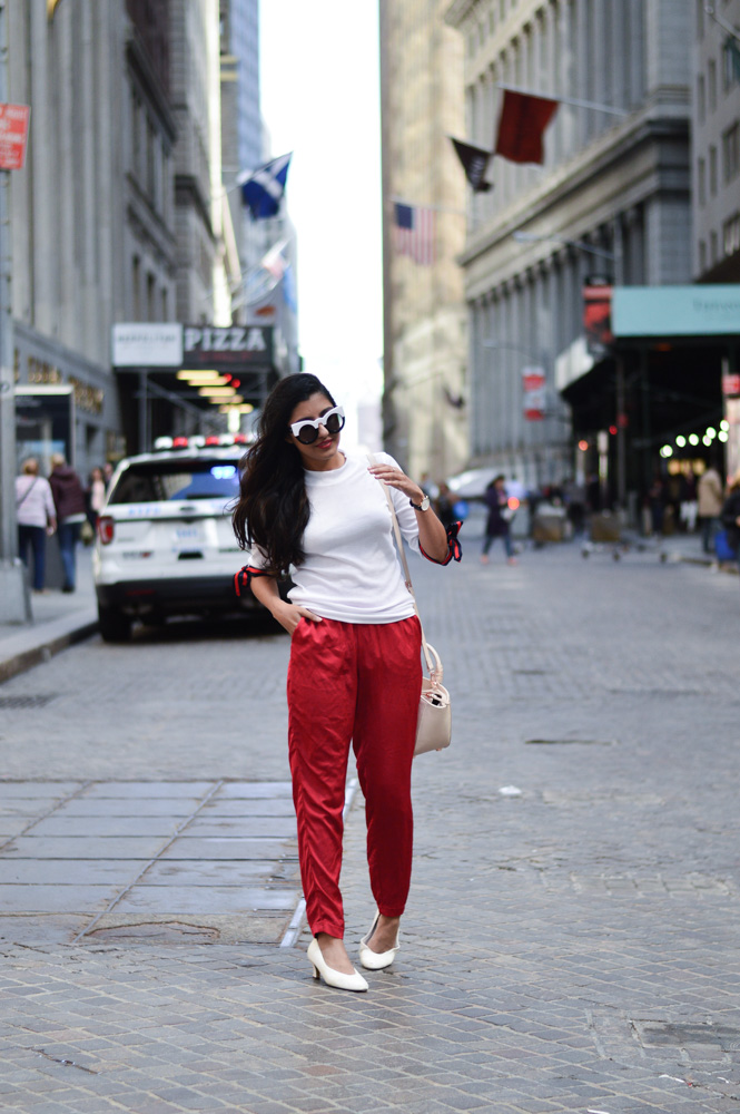 tie-sleeved-white-tee-red-silk-pants-summer-style-nyc-style-blogger-outfit 13
