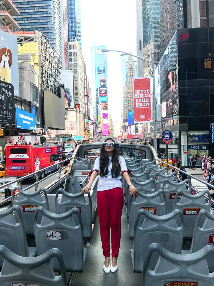 big-red-bus-times-square-what-wear-travel-style-blogger-outfit 28
