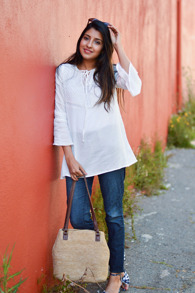 white-bell-sleeves-blouse-straw-bag-gingham-shoes-blogger-outfit 2