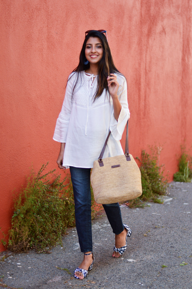white-bell-sleeves-blouse-blue-denim-gingham-shoes-blogger-outfit-summer-style 3