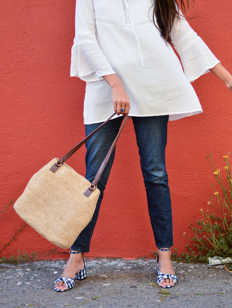 white-bell-sleeves-blouse-blue-denim-gingham-shoes-summer-accessories-straw-bag 3