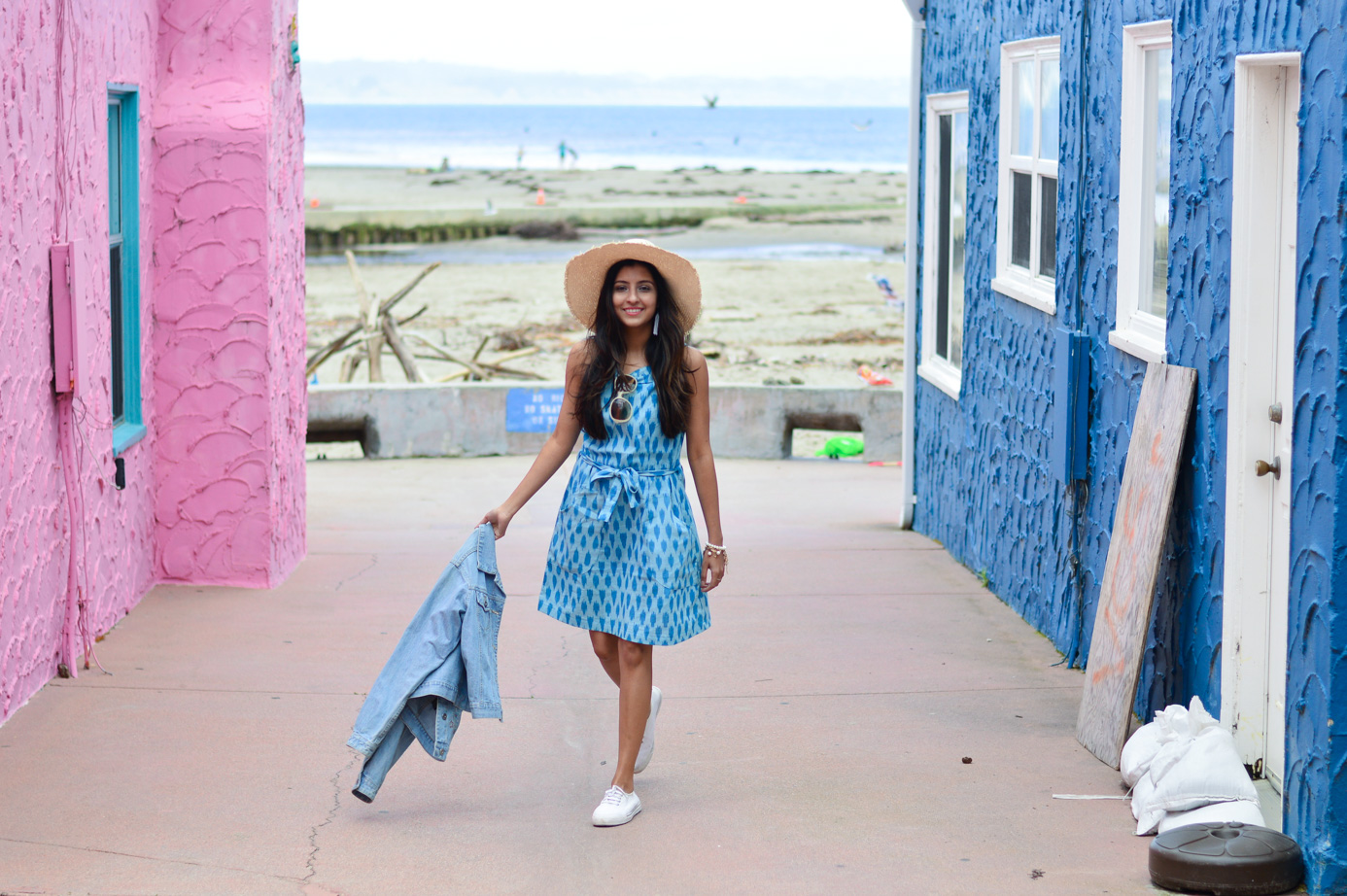 ikat-dress-blue-summer-style-capitola-california-travel-blogger 1