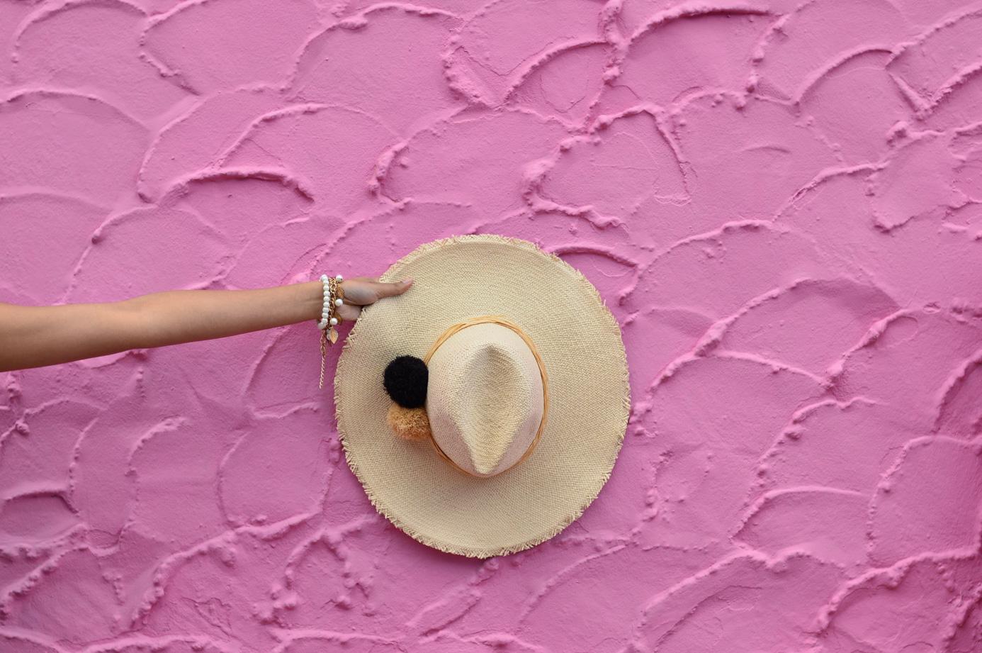 ikat-dress-blue-summer-style-capitola-california-hat-poms 5