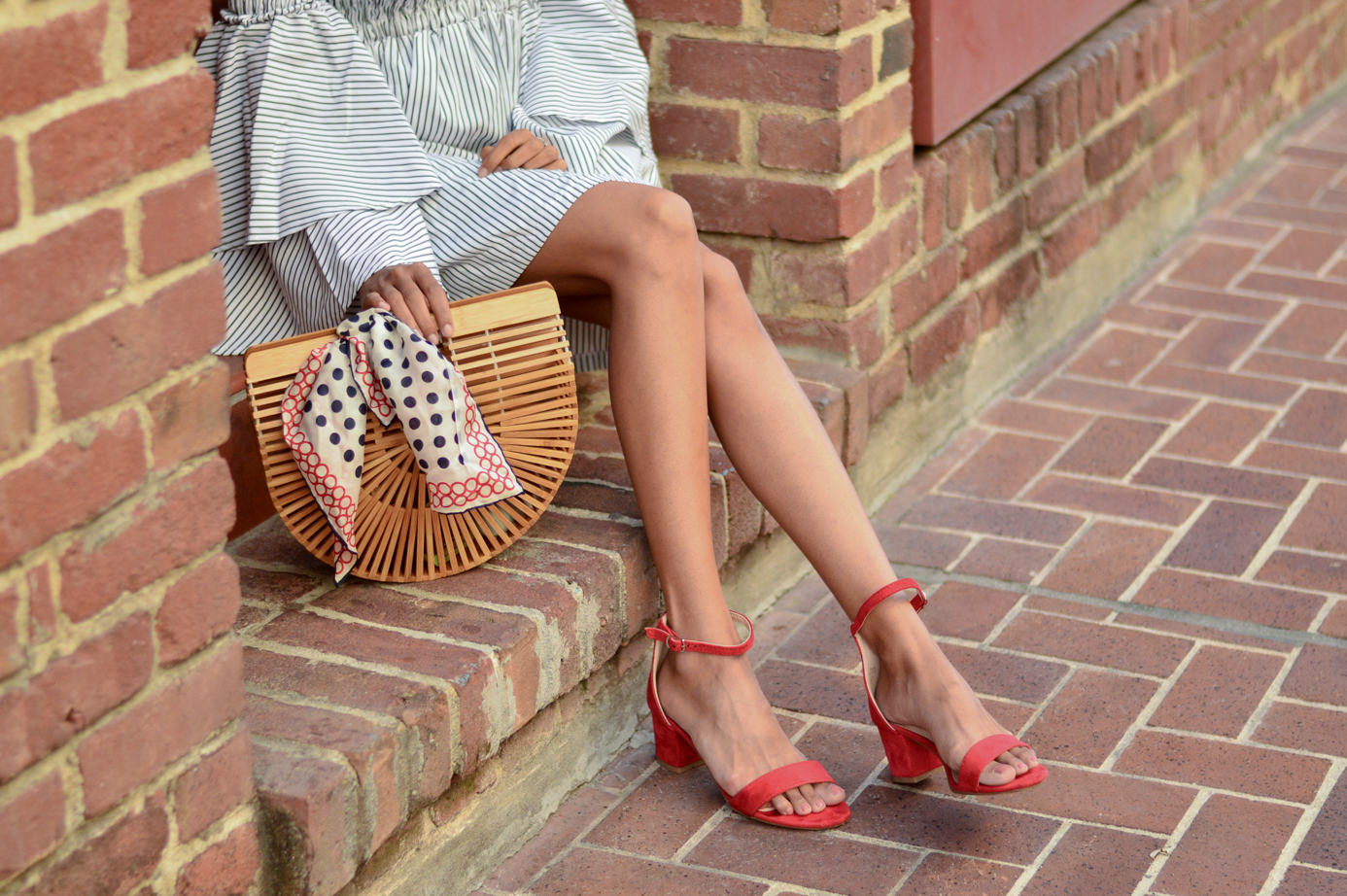 bell-sleeves-ruffles-stripes-dress-red-block-sandals-ark-bag-cult-gaia-summer-style 8