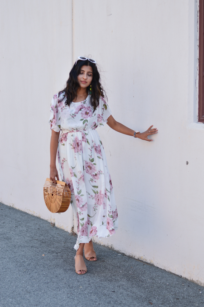 floral-maxi-dress-neutral-mules-bamboo-ark-bag-summer-style 3