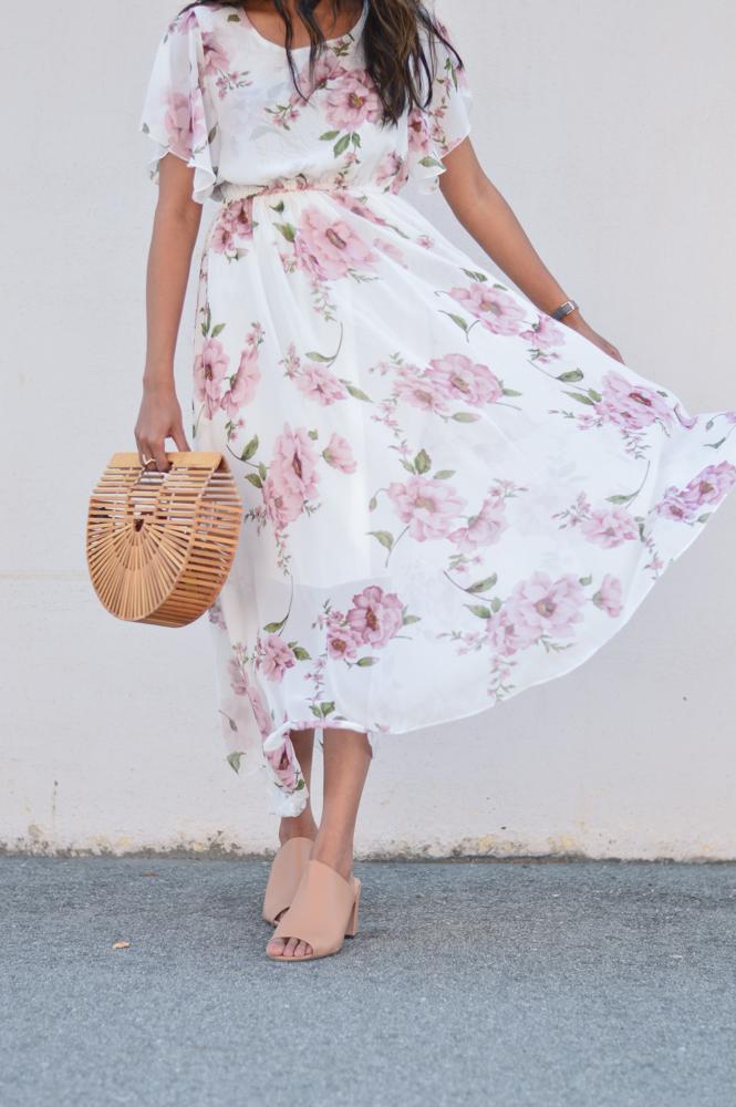 floral-maxi-dress-neutral-mules-bamboo-ark-bag-retro-sunnies 5