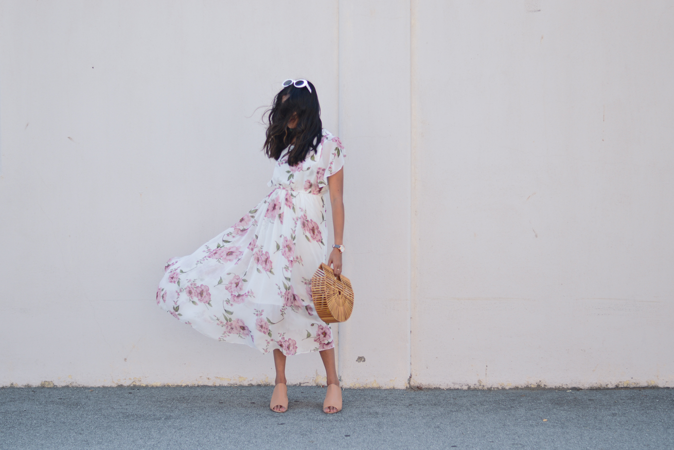 floral-maxi-dress-neutral-mules-bamboo-ark-bag-fashion-blogger-outfit 7