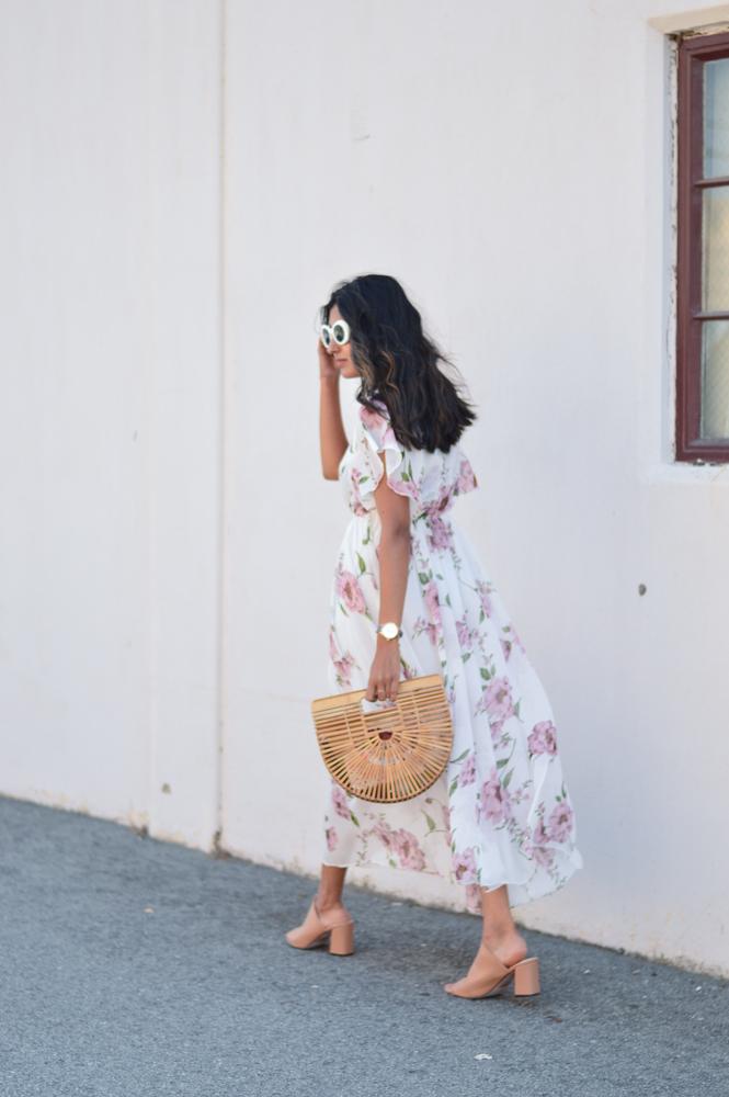 floral-maxi-dress-neutral-mules-bamboo-ark-bag-retro-sunnies 8