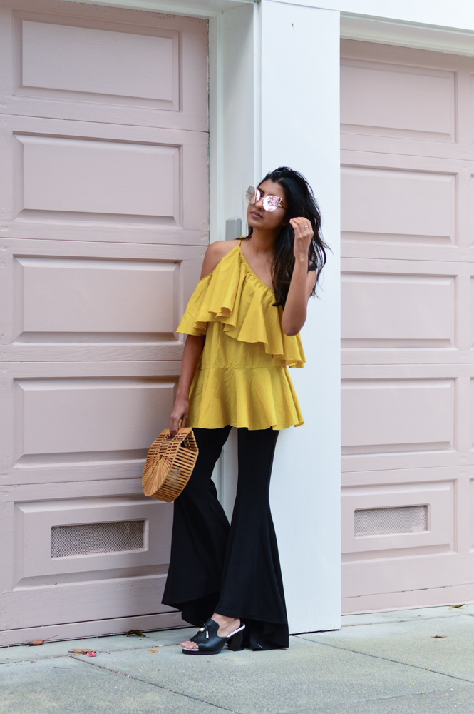 ruffles-mustard-yellow-fall-style-cold-shoulder-top-blogger-outfit 1
