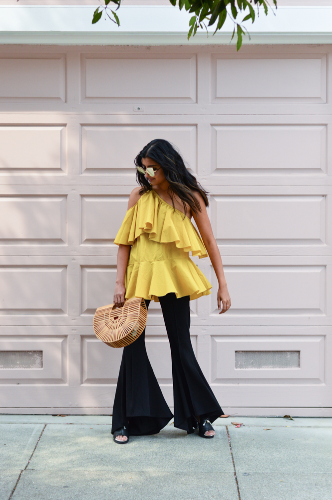 ruffles-mustard-yellow-fall-style-cold-shoulder-top-blogger-outfit 3