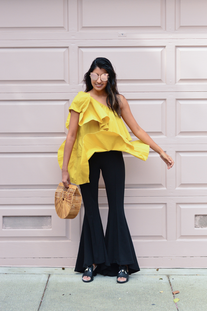 ruffles-mustard-yellow-fall-style-cold-shoulder-top-blogger-outfit 8