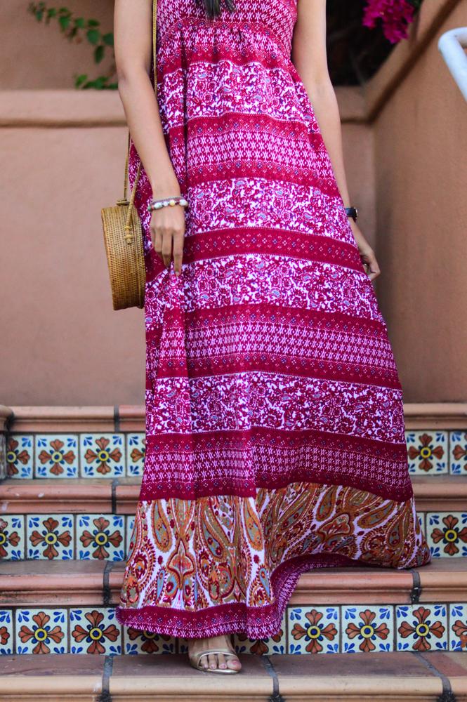 paisley-print-maxi-dress-fall-style-wicker-circle-bag-transition-style 5