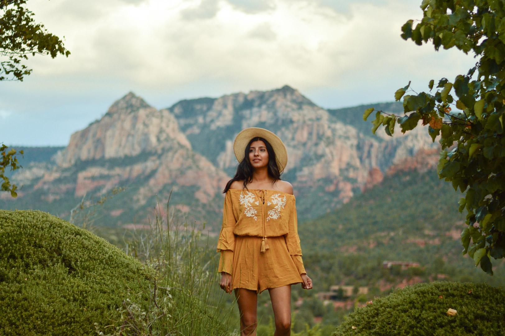 sedona-arizona-mustard-yellow-marigold-romper-travel-blogger-outfit 2