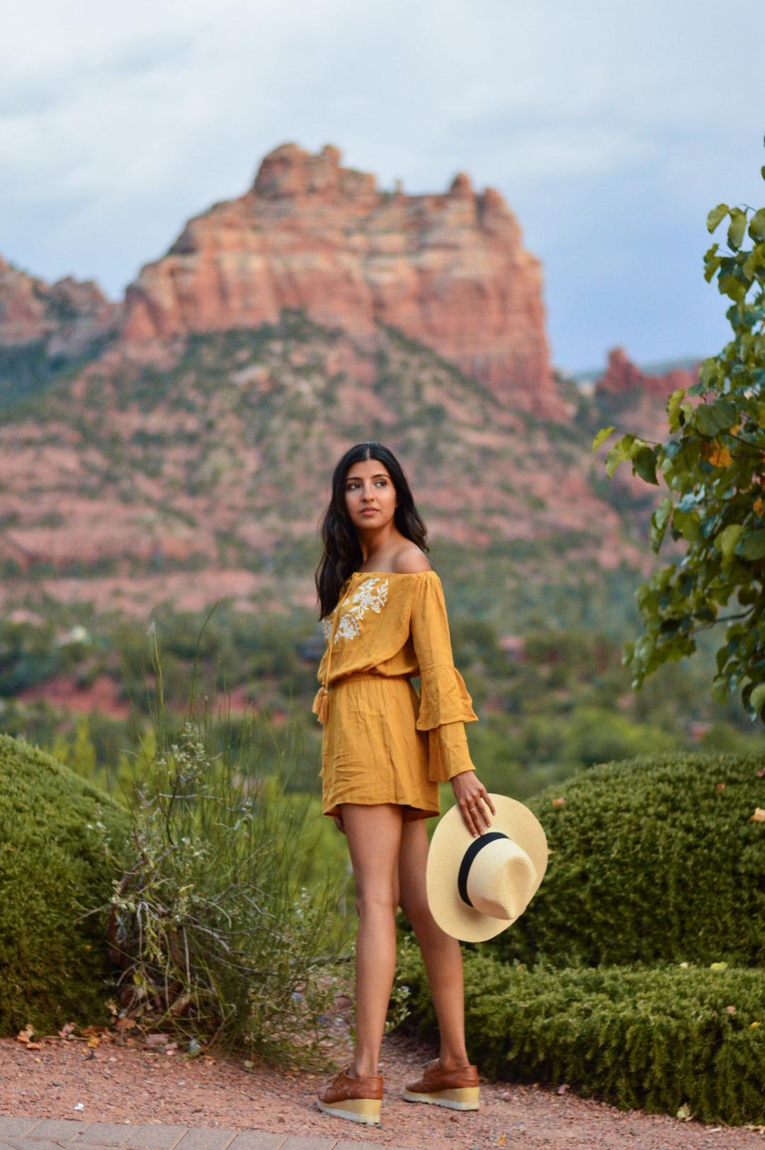 sedona-arizona-mustard-yellow-marigold-romper-travel-blogger-outfit 5