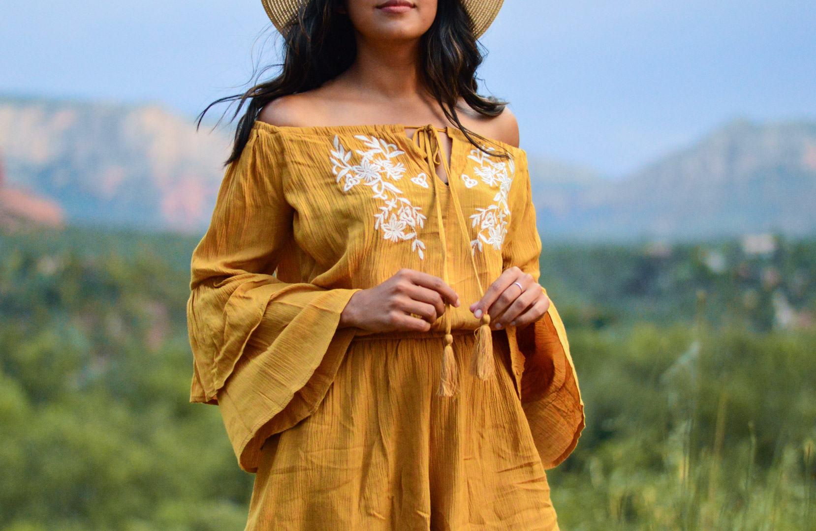 sedona-arizona-embroidered-marigold-romper-travel-blogger-outfit 6