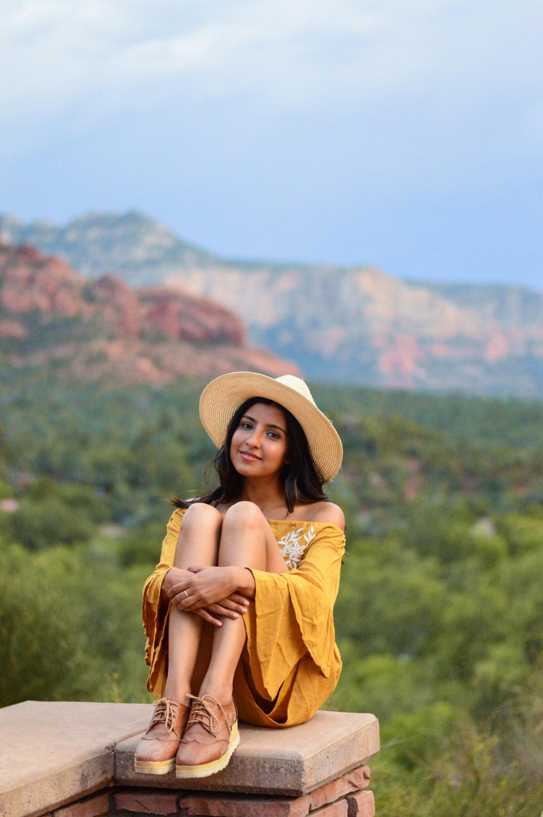 sedona-arizona-mustard-yellow-marigold-romper-travel-blogger-outfit 11