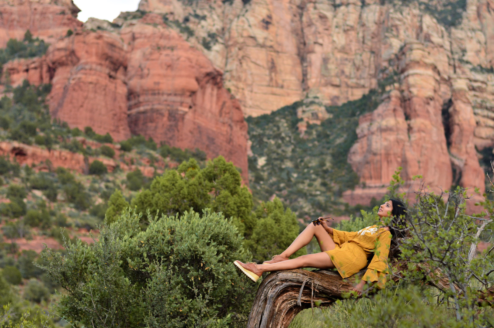 sedona-arizona-mustard-yellow-marigold-romper-travel-blogger-outfit 12