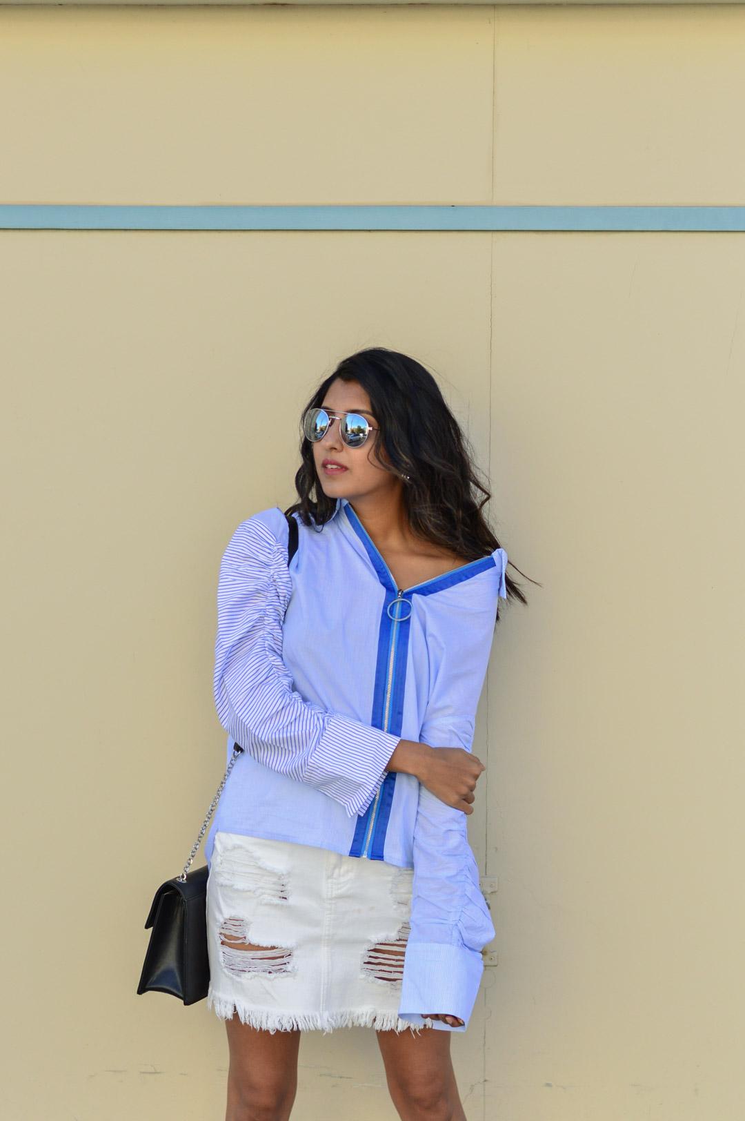 striped-buttondown-shirt-white-denim-skirt-fall-style-fashion-blogger 2