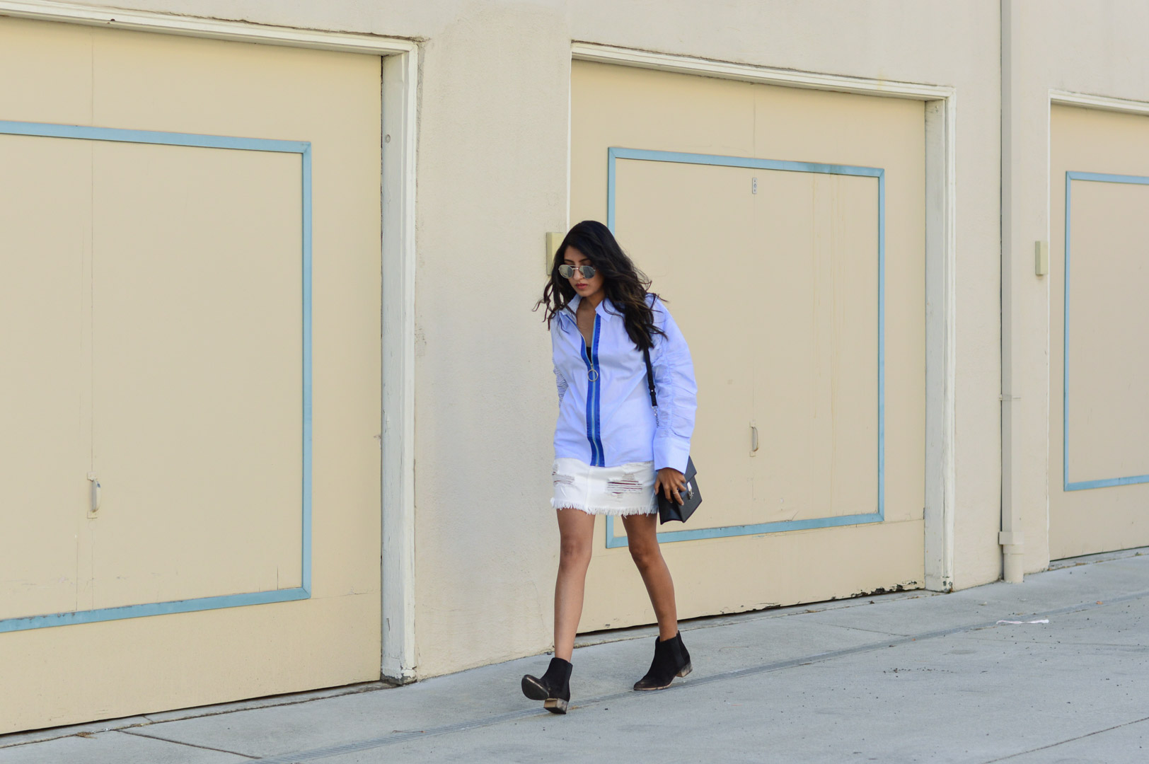 striped-buttondown-shirt-white-denim-skirt-fall-style 3