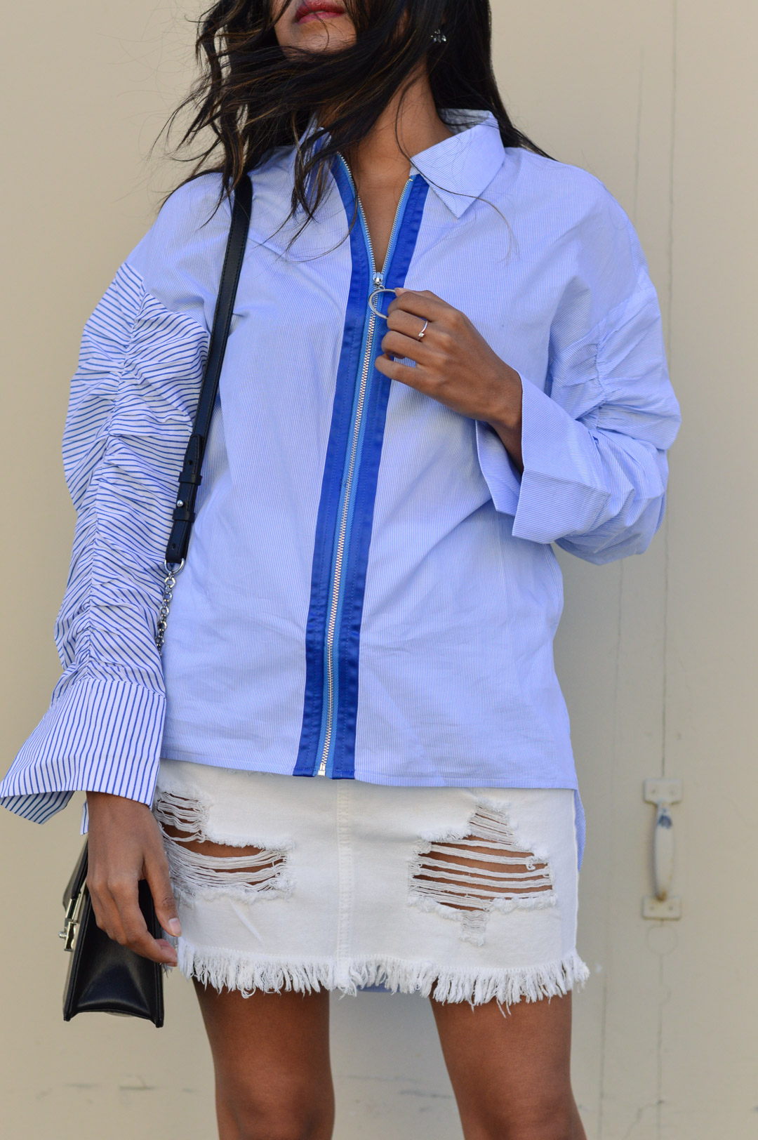 striped-buttondown-shirt-white-denim-skirt-fall-style 4
