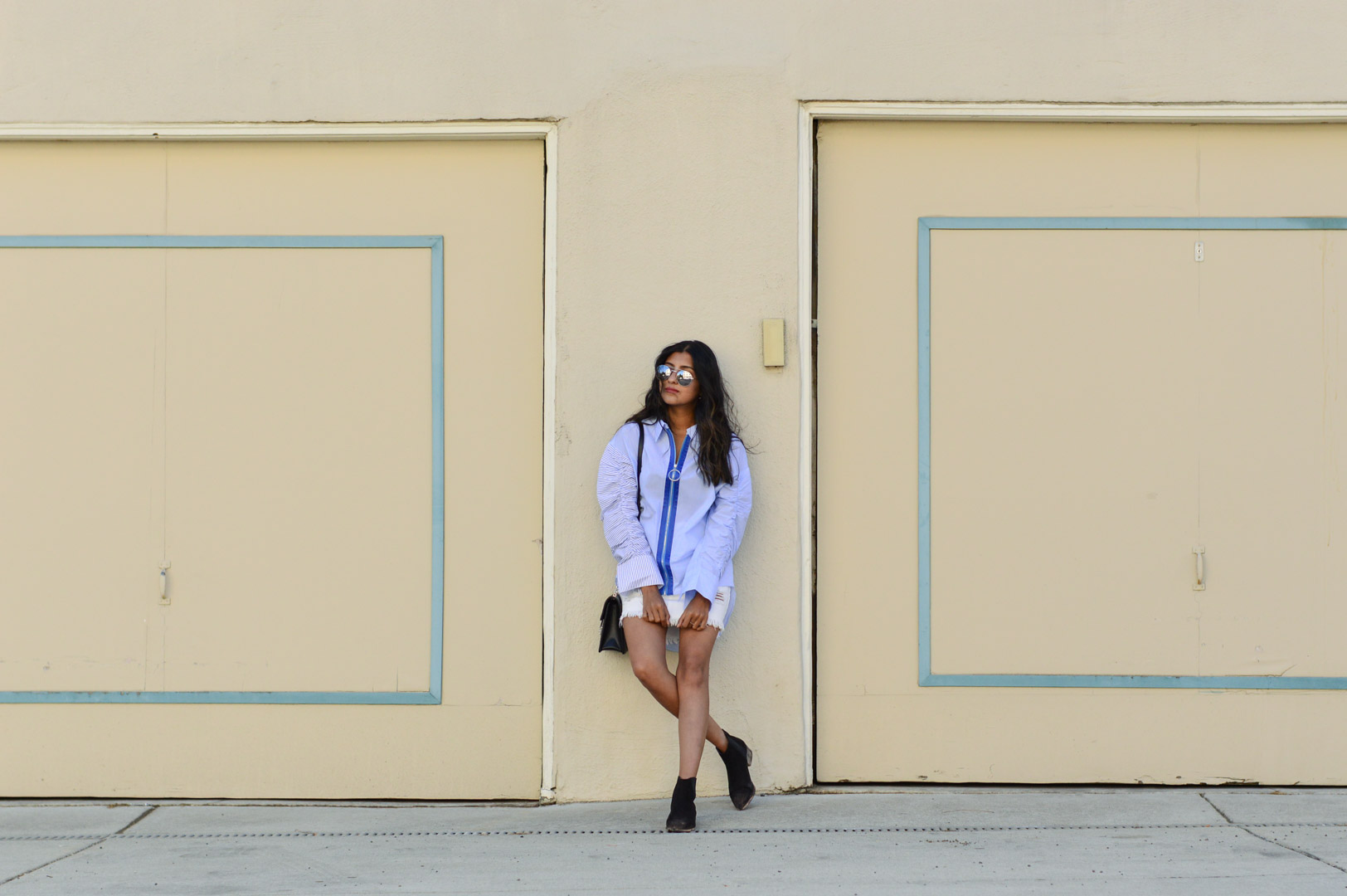 striped-buttondown-shirt-white-denim-skirt-fall-style 5