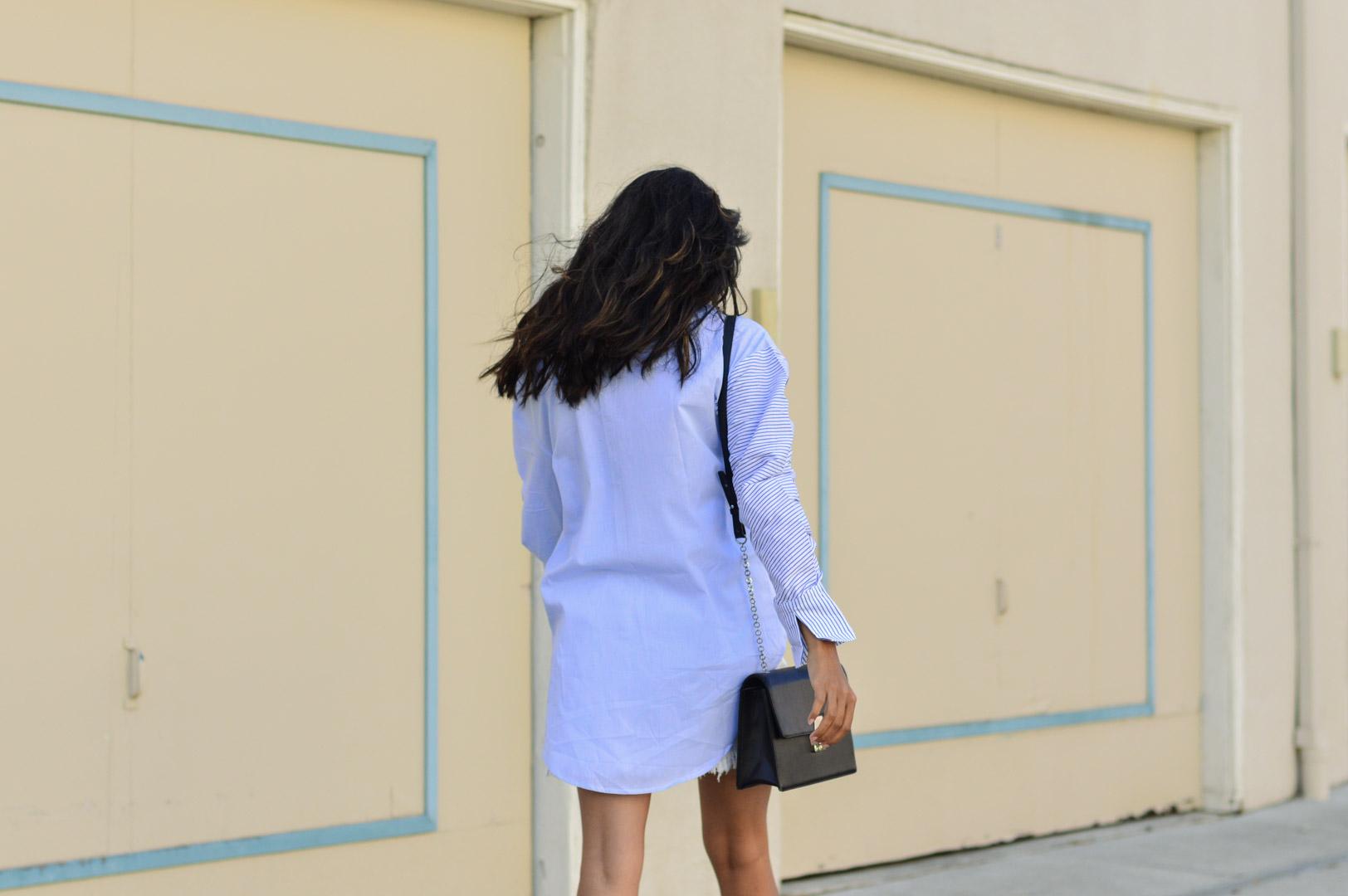 striped-buttondown-shirt-white-denim-skirt-fall-style 7