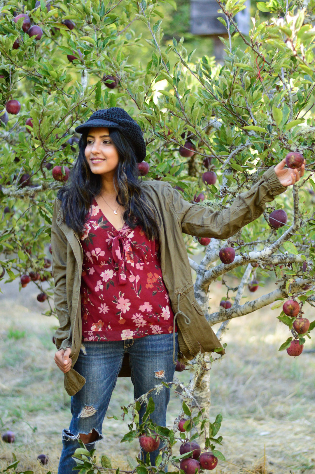 apple-picking-fall-florals-utility-jacket-california-style 2