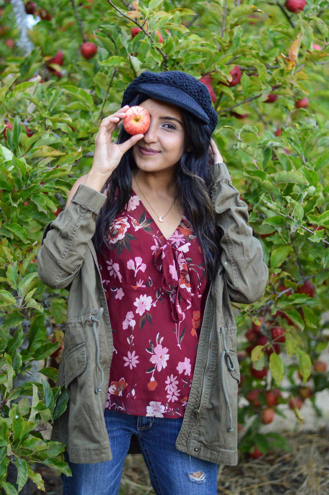 apple-picking-fall-florals-utility-jacket-california-style-activities 11