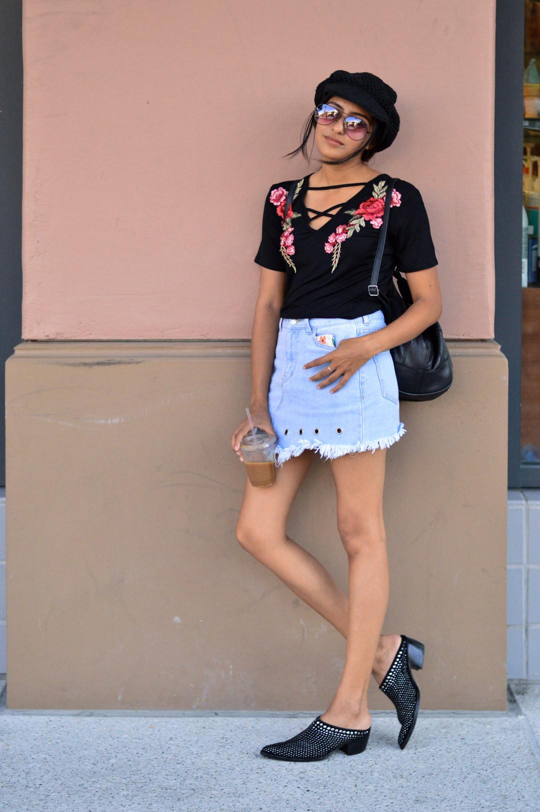 Casual-friday-style-denim-skirt-black-tee-studded-booties 1