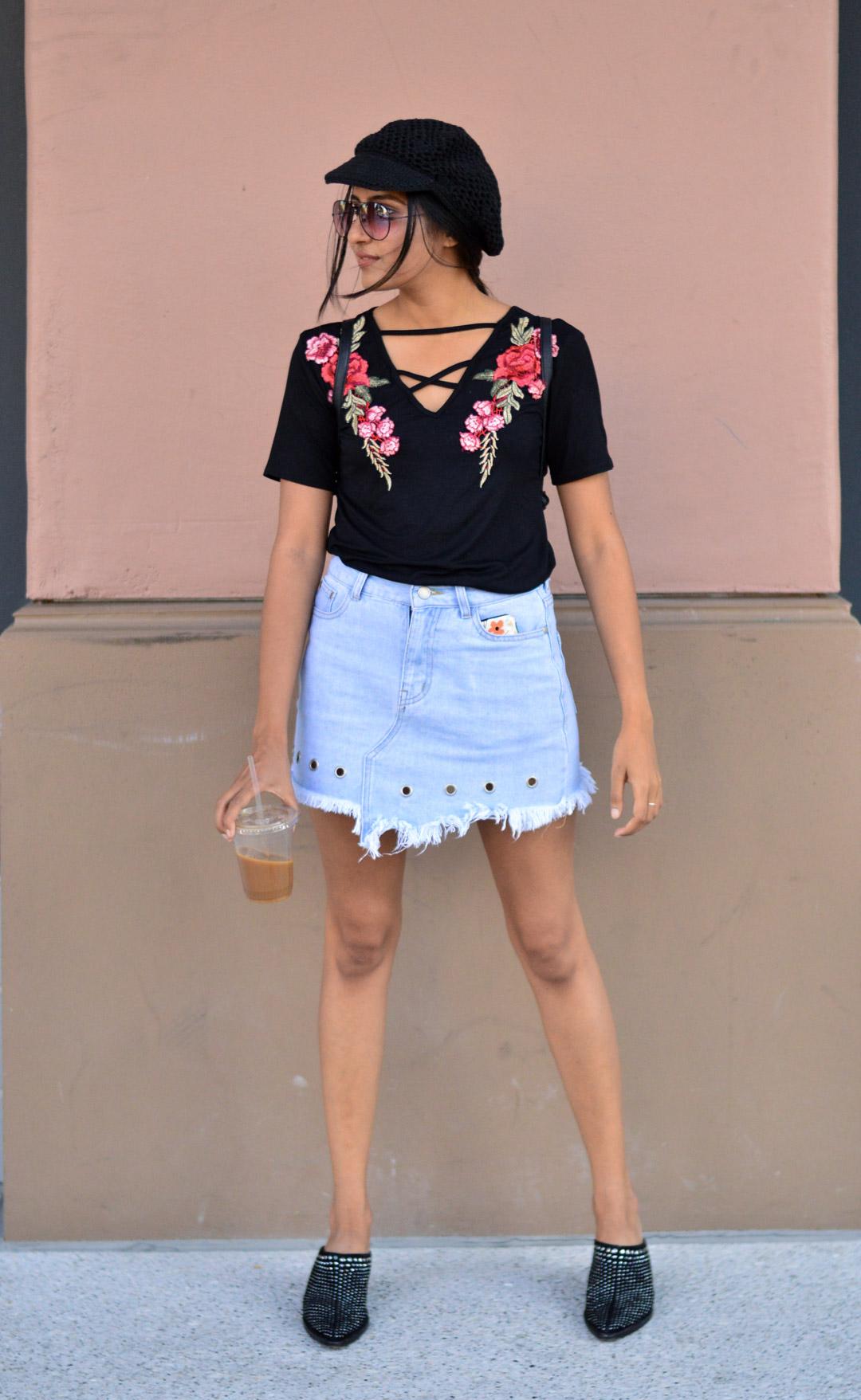 Casual-friday-style-denim-skirt-black-tee-studded-booties 4