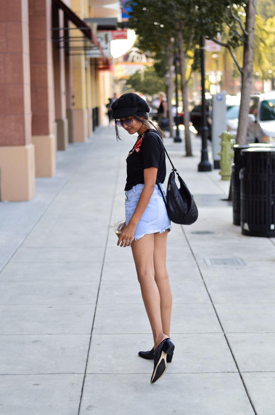 Casual-friday-style-denim-skirt-black-tee-fall-style 6