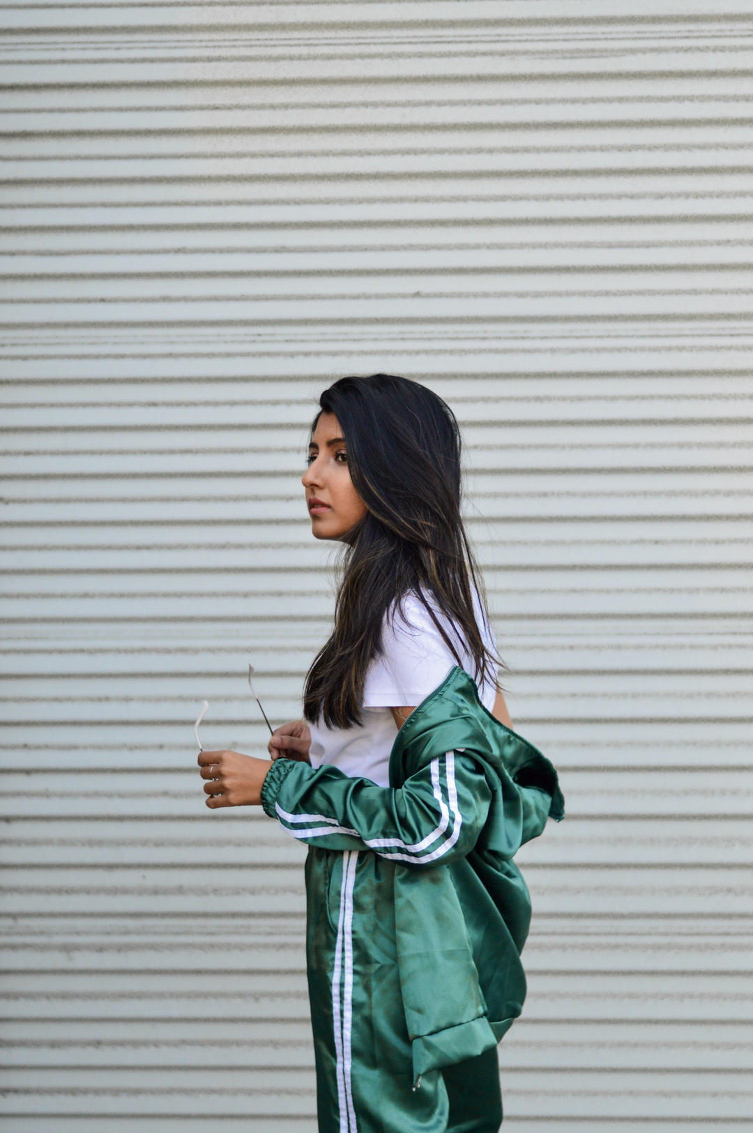 tracksuit-satin-green-sporty-chic-blogger-outfit-fall 2