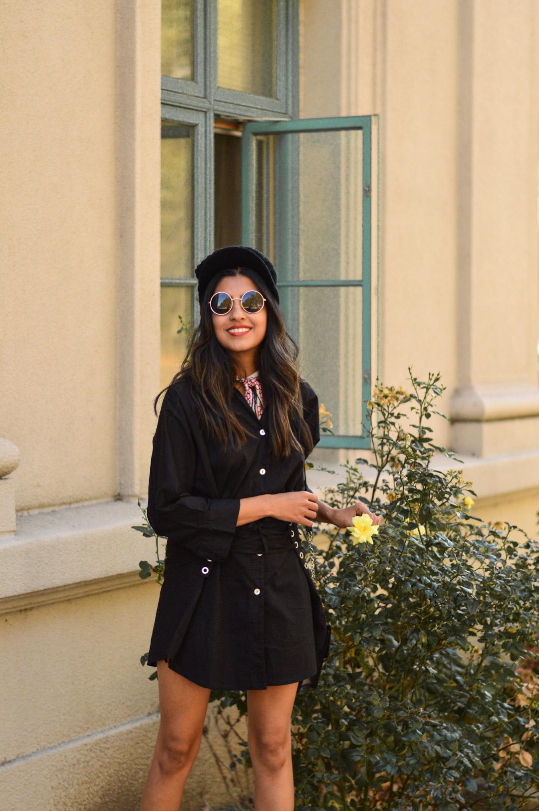 corset-shirtdress-silk-scarf-bakerboy-hat-fall-fashion 6
