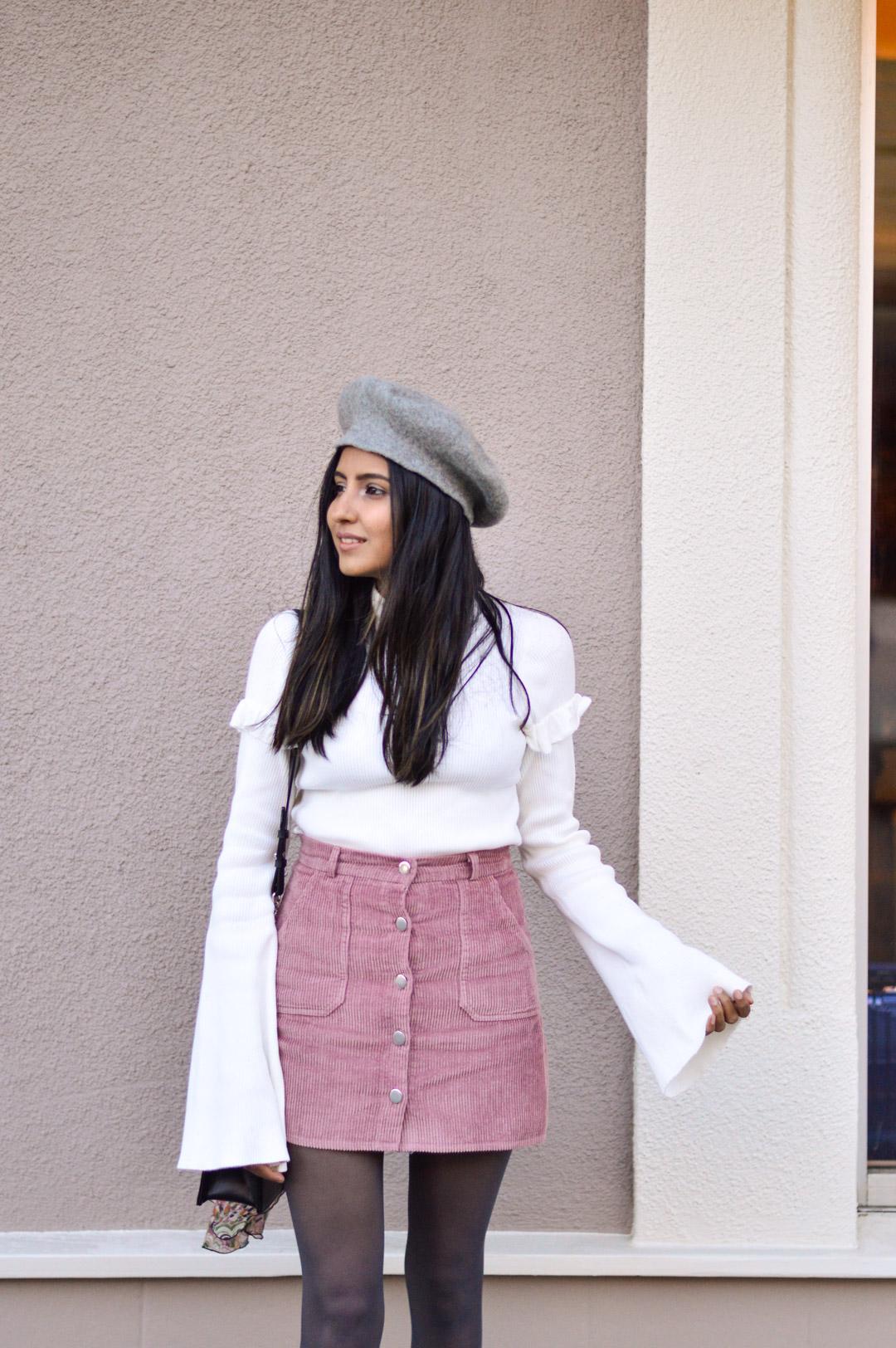 corduroy-skirt-pink-beret-bell-sleeves 2