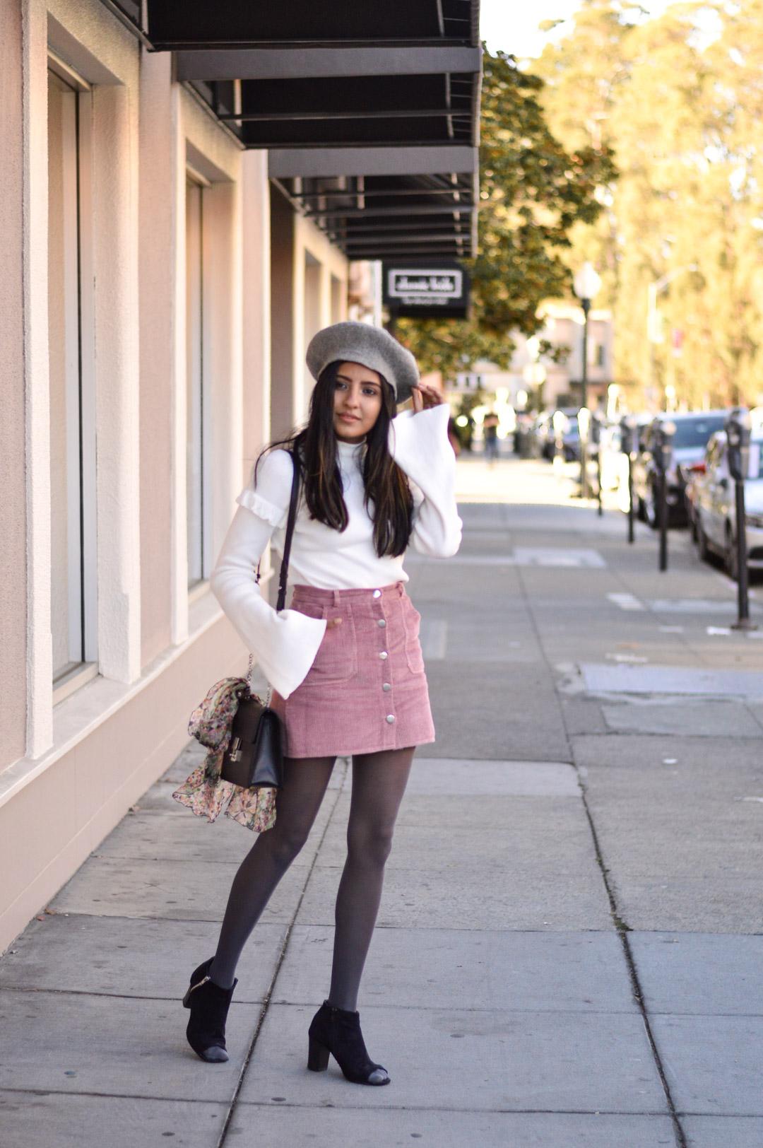 corduroy-skirt-pink-beret-fall-style-blogger 7