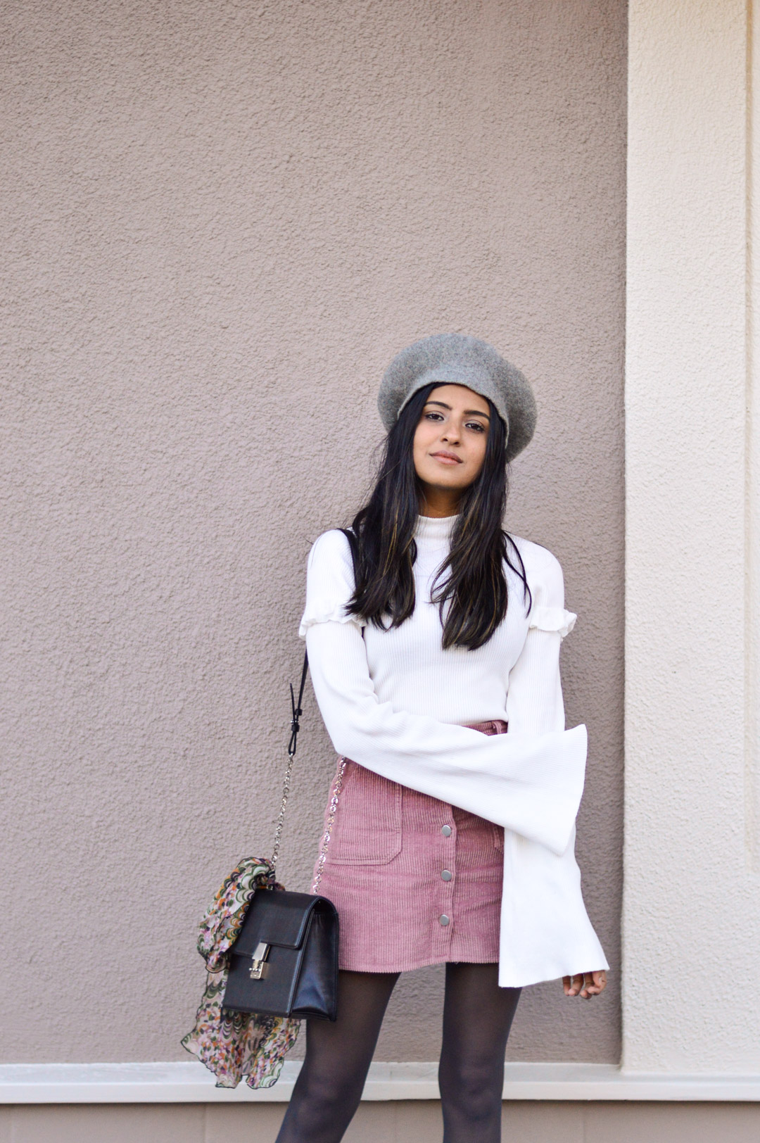 corduroy-skirt-bell-sleeves-beret-fall-fashion 8