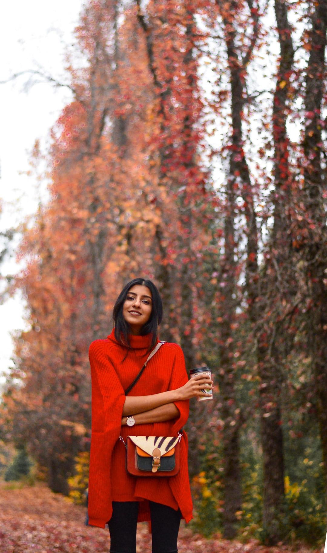 red-poncho-fall-fashion-apple-hill-california-blogger 8