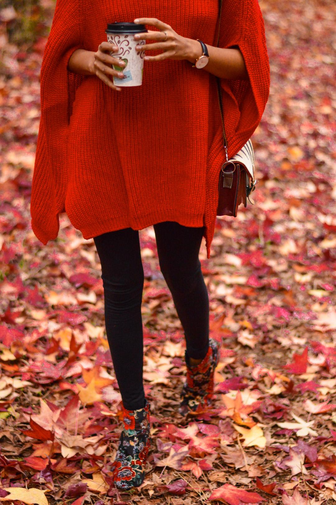 red-cape-sweater-fall-fashion-apple-hill-california 9