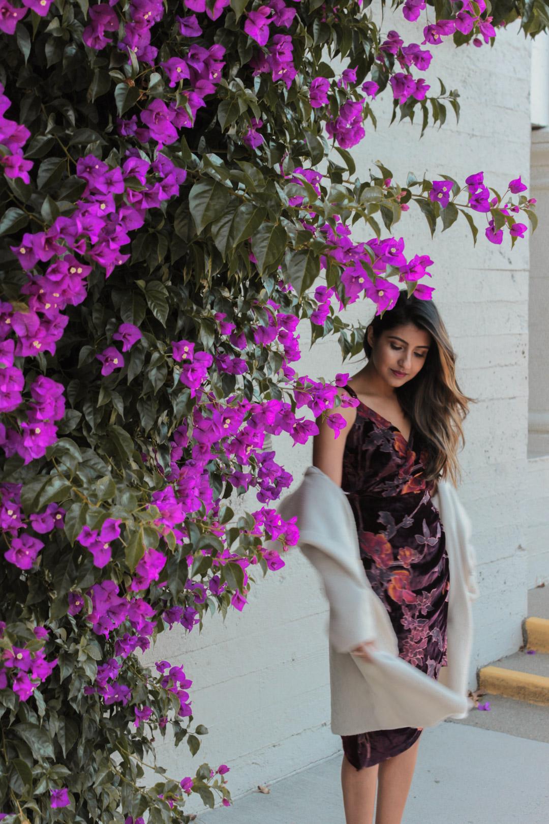 velvet-wrap-floral-dress-nye-party-style 1