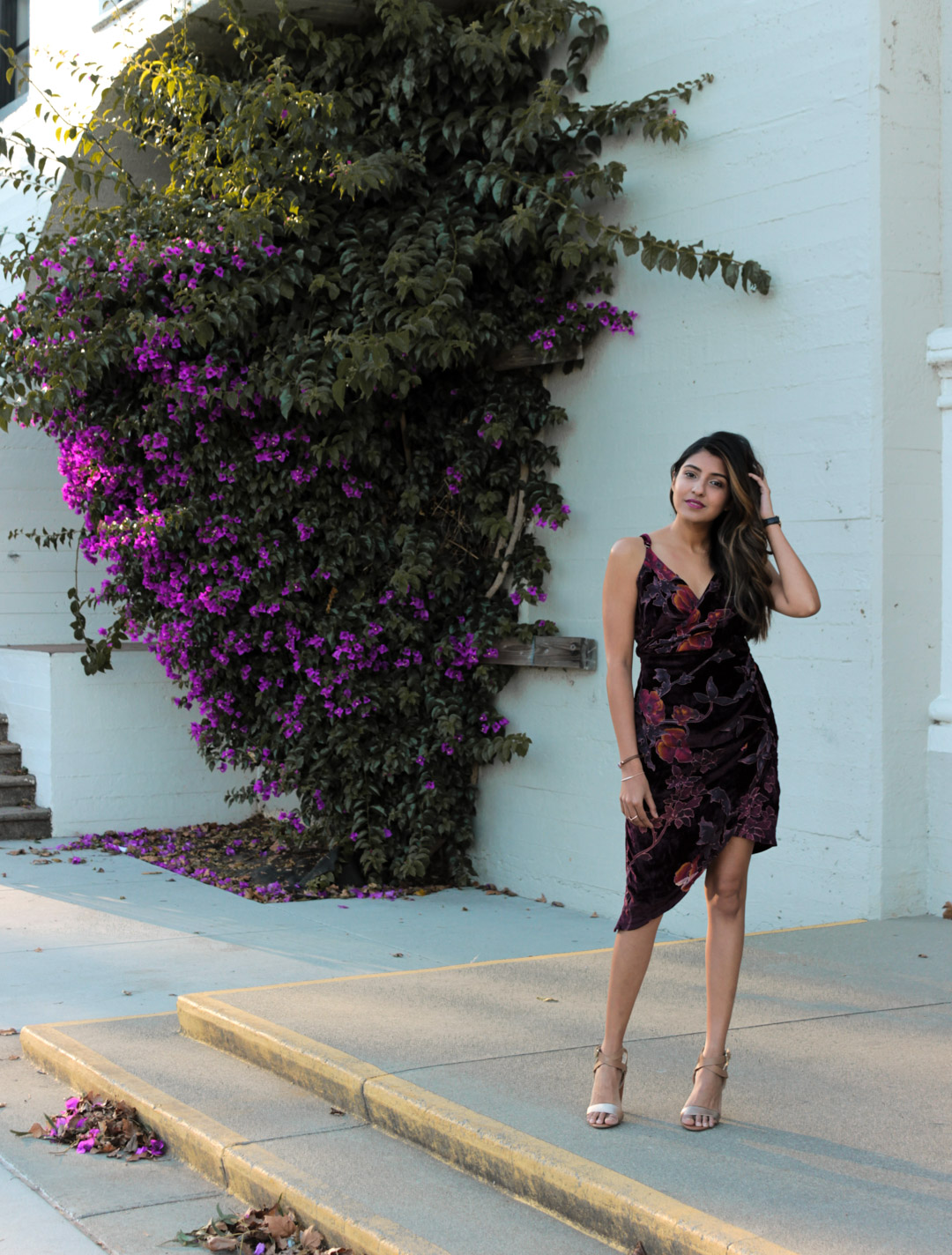 velvet-wrap-floral-dress-nye-party-blogger-outfit 3