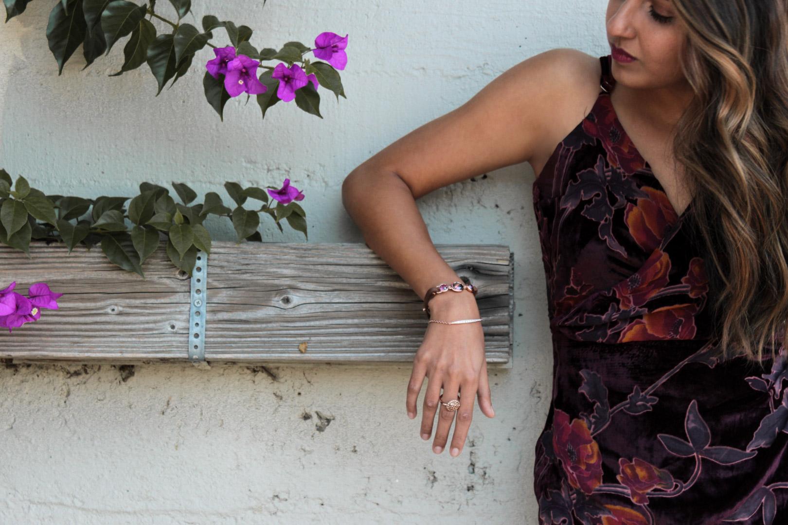 velvet-wrap-floral-dress-nye-party-jewelry-blogger 4