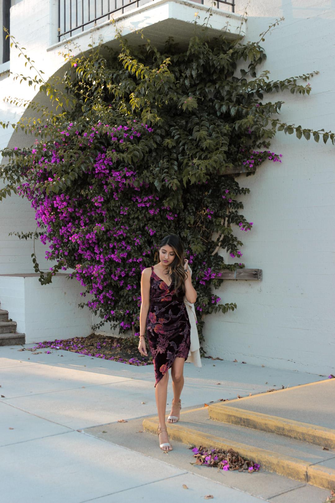 velvet-wrap-floral-dress-nye-party-style 7