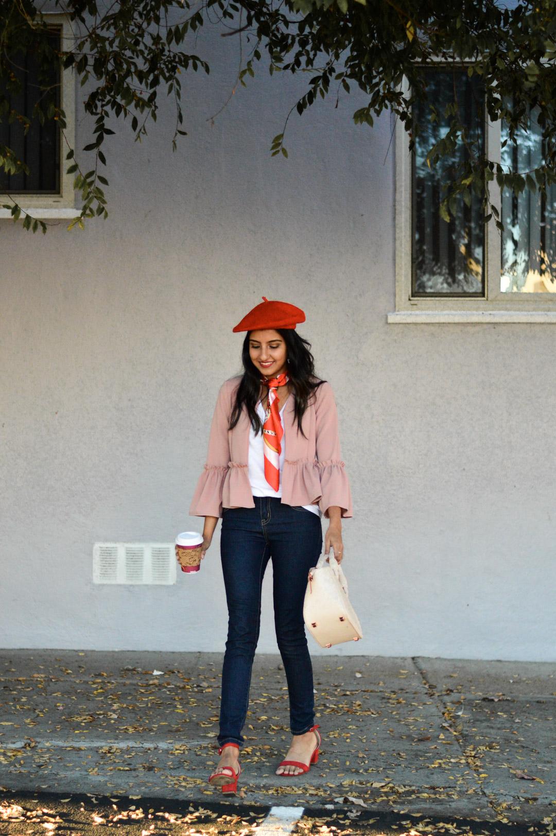 parisian-chic-beret-ruffles-blogger-outfit 1