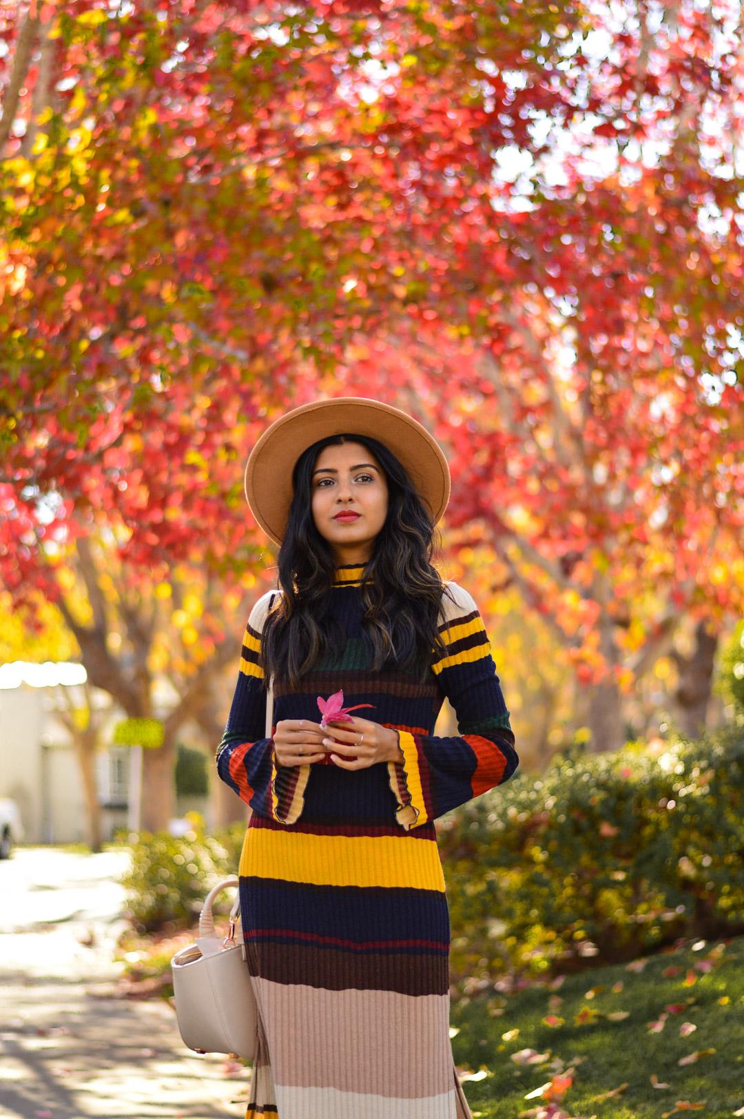 ribbed-stripes-knit-midi-dress-blogger-fashion 2