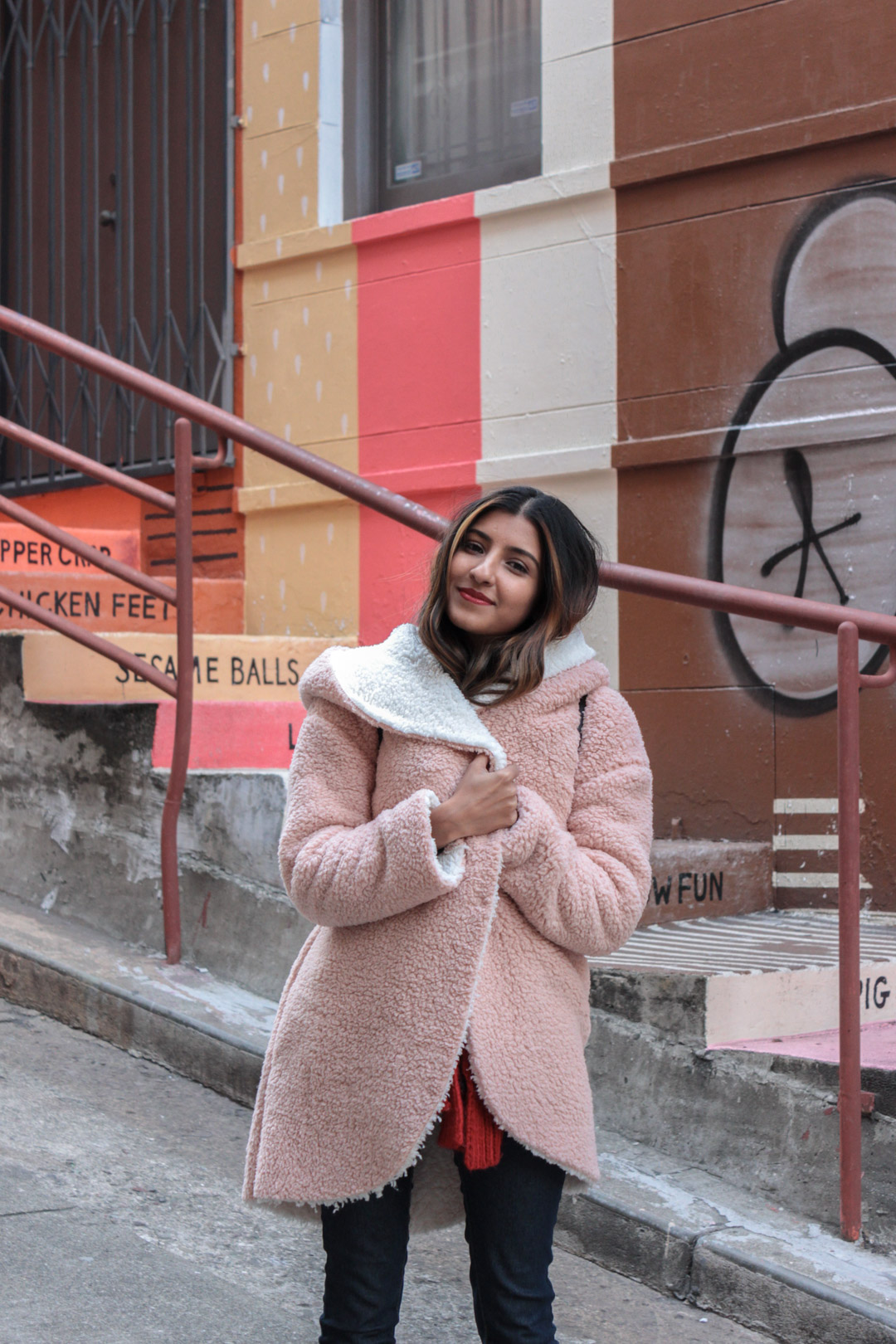 pink-teddy-coat-chinatown-san-francisco-blogger 2